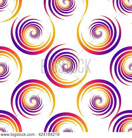 Screen Printing Seamless Pattern. Radiant Abstract Vortex. Circular Pattern. Colorful Round Print.
