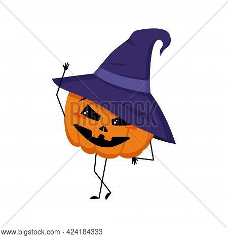 Cute Pumpkin Character In Pointed Hat With Joyful Emotions, Smiling Face, Happy Eyes, Arms And Legs.