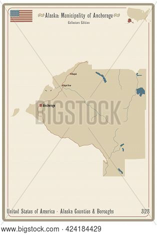 Map On An Old Playing Card Of Municipality Of Anchorage In Alaska, Usa.