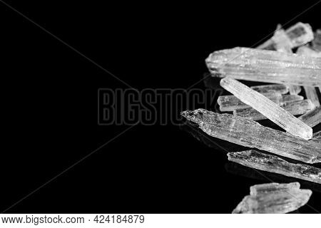 Menthol Crystals On Black Background, Closeup. Space For Text