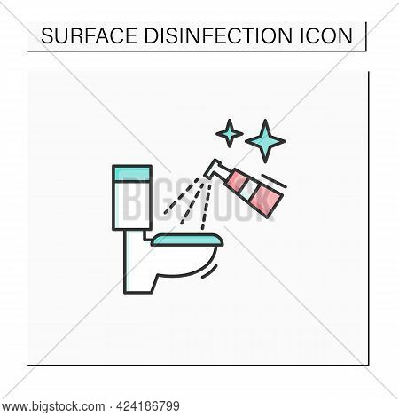 Toilet Disinfection Color Icon. Restroom Antibacterial Spray Cleaning Linear Pictogram. Hygiene And