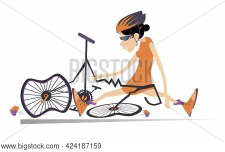 Sad Cyclist Woman And Broken Bike Illustration.  Cyclist Young Woman With Downcast Head Sitting Near