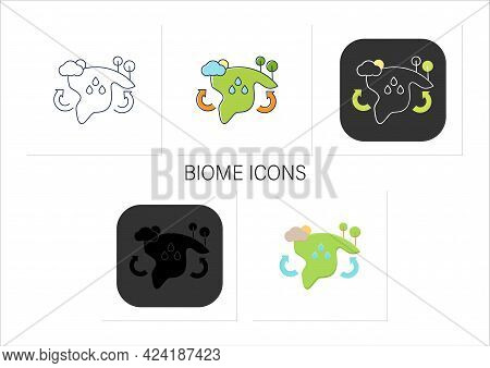 Biome Icons Set. Collection Of Plants And Animals That Have Common Characteristics For The Environme