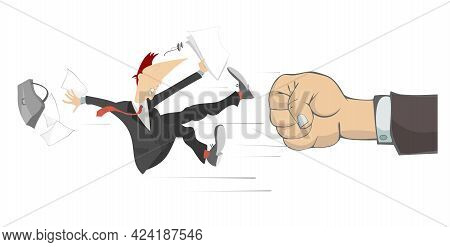 Punch Fist And Confused Falling  Man. Concept Illustration. Big Fist Beats A Falling Man With Papers