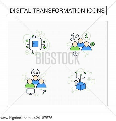 Digital Transformation Color Icons Set. Chipization, Digital Potential, Society 5.0, Information Soc