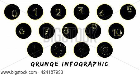 Modern Infographic Template In Grunge Style. Black Circles And Yellow Hand Drawn Elements And Number