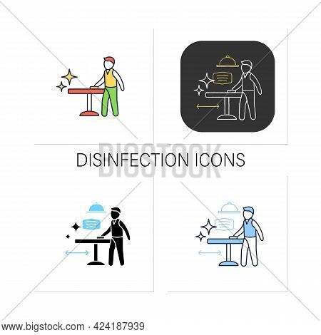 Disinfection Icons Set. Employee Disinfect Tables. Wet Cleaning.furniture Disinfect.restaurants New