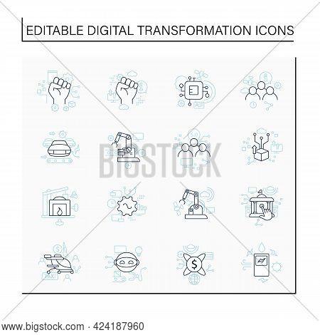 Digital Transformation Line Icons Set. Modern Technologies. Digitalization. Future. Digital Revoluti