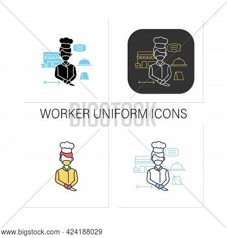 Worker Uniform Icons Set. Kitchen Stuff Making Food In Face Mask And Gloves.restaurants New Normal.c