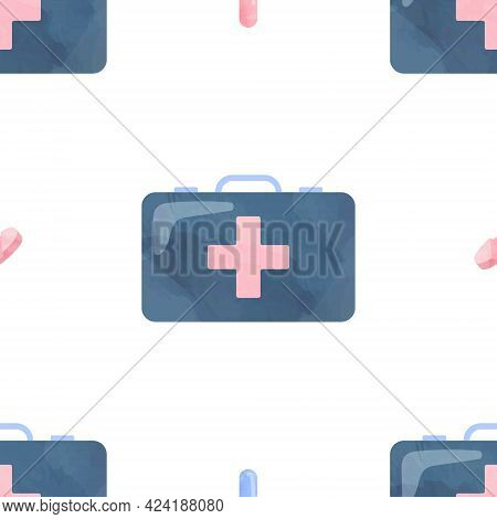 Watercolor Seamless Pattern First Aid Kit Health Medical Cliparts, Healthcare Clipart, Medical Illus