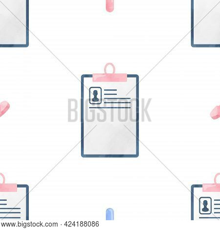 Watercolor Seamless Pattern Medical Card Health Medical Cliparts, Healthcare Clipart, Medical Illust