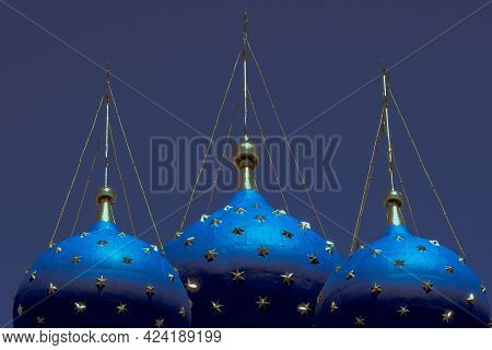 Russian Orthodox Church And Domes Of The Temple