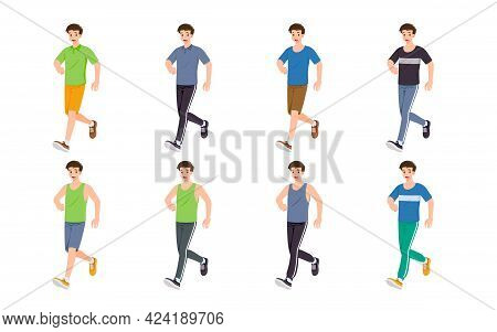 Flat Design Concept Of Man With Different Poses, Presenting Process Gestures And Actions. Vector Car