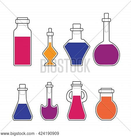 Set Of Shaped Flasks With Colorful Elixirs