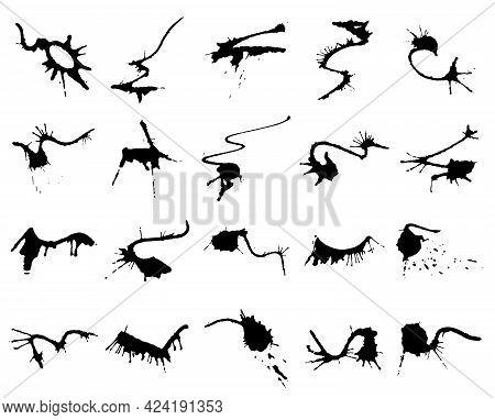 Set Of Black Dirty Calligraphy Ink Strokes On White Background. Grunge Splatter Strokes. High Qualit