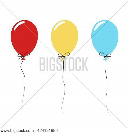 Set Of Colorful Holiday Balloons On A Shoelace. Simple Bright Flat Illustration. Elements, Cliparts,