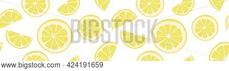 Cool Bright Seamless Pattern With Lemon Slices. Beautiful Trendy Background With Juicy Summer Fruits