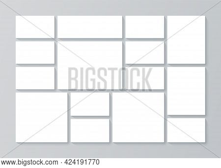 Moodboard Grid. Photo Collage Template. Vector. Mood Board Background. Banner With Pictures. Mosaic