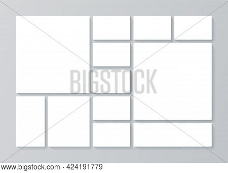 Photo Collage. Moodboard Template. Pictures Grid. Vector. Mosaic Frames. Mood Board Background. Phot