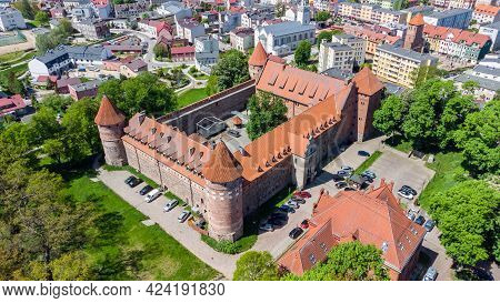 Aerial View Of Bytow Castle. Gothic Teutonic Castle And A Former Stronghold For Pomeranian Dukes In