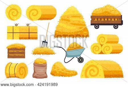 Set Of Isolated Bales Hay Agricultural Stacks With Rolls Sacks And Pitchfork With Wheeled Cart Image