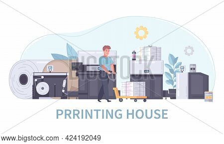 Cartoon Printing House Polygraphy Concept An Employee Carries Printed Papers On A Special Cart Vecto