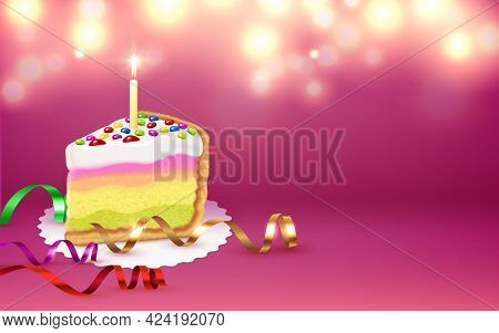 Cake Piece Serpentine Burning Candle Festive Birthday Party Accessories Blurry Lights Mauve Backgrou