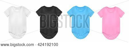 Baby Bodysuit Realistic Colorful Set With Variation Isolated Vector Illustration