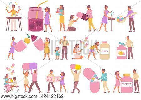 Men Women And Children Taking Supplements And Vitamins Flat Icons Set Isolated On White Background V
