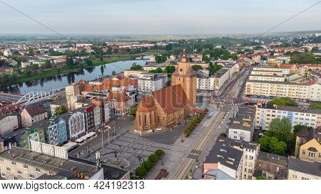 Gorzow Wielkopolski, Poland - June 1, 2021: Gorzow Wielkopolski Aerial View With St. Mary's Cathedra