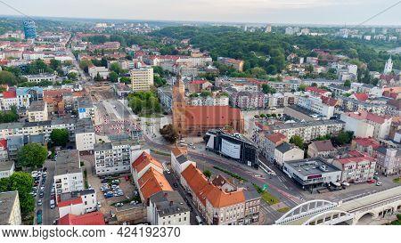 Gorzow Wielkopolski, Poland - June 1, 2021: City Center Of Gorzow Wielkopolski. View At City From Bi