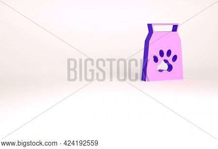 Purple Bag Of Food For Pet Icon Isolated On White Background. Food For Animals. Dog Bone Sign. Pet F