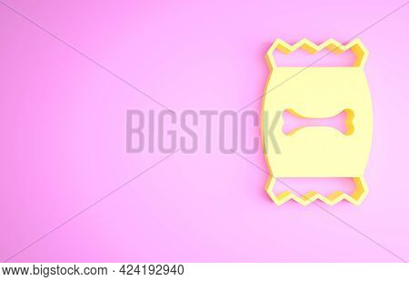 Yellow Bag Of Food For Pet Icon Isolated On Pink Background. Food For Animals. Dog Bone Sign. Pet Fo