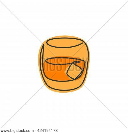 One Line Drawing Whiskey Glass On White Background. Cartoon Graphic Sketch For Celebration Design. C