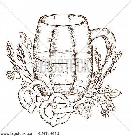Beer Mug In Vintage Engraving Style With Pretzels And Hops, Barley Ears, Hand Drawn Vector Illustrat