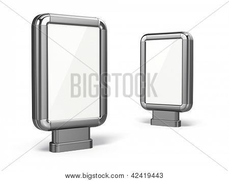 Citylight. Blank advertising billboard on white isolated background. 3d