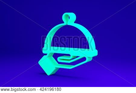 Green Covered With A Tray Of Food Icon Isolated On Blue Background. Tray And Lid Sign. Restaurant Cl
