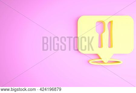 Yellow Cafe And Restaurant Location Icon Isolated On Pink Background. Fork And Spoon Eatery Sign Ins