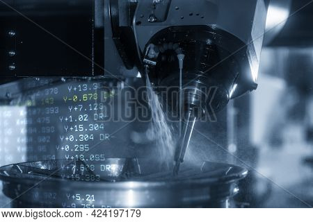 The Abstract Scene 5-axis  Machining Center Cutting The Magnesium Alloy Wheel Parts With G-code Data