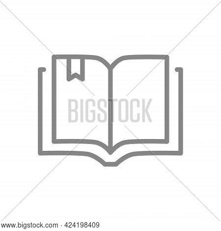 Open Book Line Icon. Encyclopedia, Diary, E-book Symbol