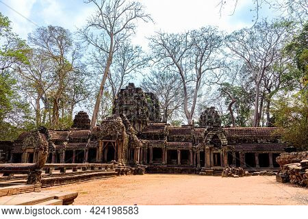 Ta Prohm Temple That Is Deteriorated Over Time Located At Angkor Thom, Siem Reap, Cambodia.