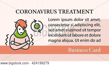 Ill Person Business Card.covid Reinfected Marketing Template.covid Disease Repeated Infection And Im