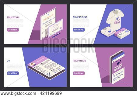 Self Promotion Branding Strategies 4 Isometric Tablet Screens With Creative Cv Product Name Advertis