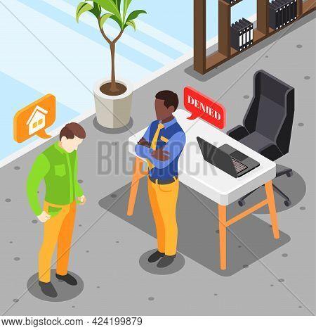 Sad Broke Man Been Denied Credit In Bank Isometric Background 3d Vector Illustration