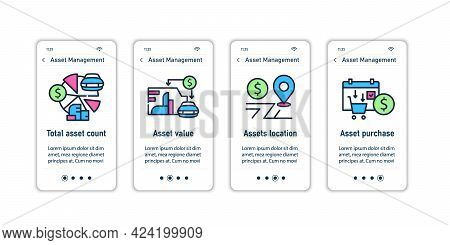 Asset Management Onboarding Mobile App Screens.asset Count, Value, Location, Purchase. Control Steps