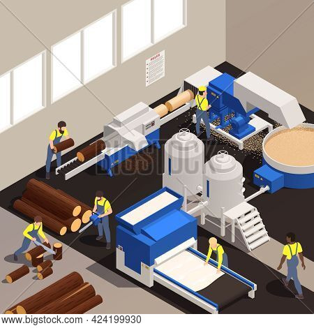 Paper Production Isometric Composition With Workers Work In A Factory Sawing Trees And Maintaining M
