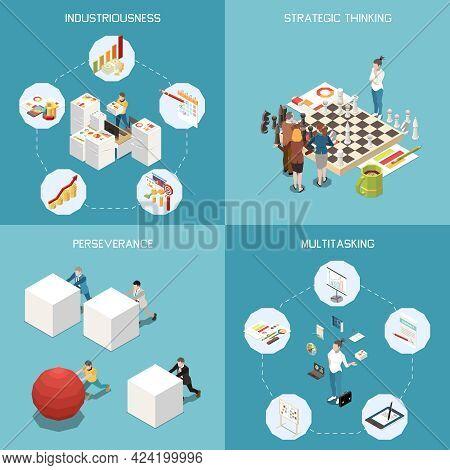 Entrepreneur Concept Isometric Icons Set With Multitasking Symbols Isolated Vector Illustration