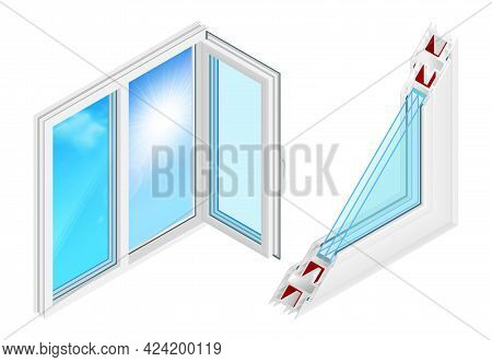 Plastic Windows Installation Design Concept With Opened Casement And Cross Section Profile Isometric