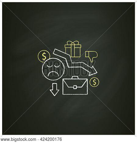 Motivation Chalk Icon. Reduce Work Motivation. Work Trouble. Unhappy Workers. Efficiency Decline.uni