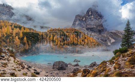 The Mountain Lake Lago Di Sorapiss In Dolomite Alps, With Amazing Turquoise Color Of Water, Autumn C